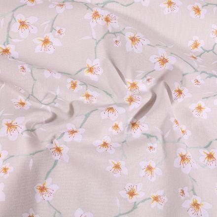 Tissu Coton imprimé Arty Fleur d'amandier sur fond Gris - Par 10 cm