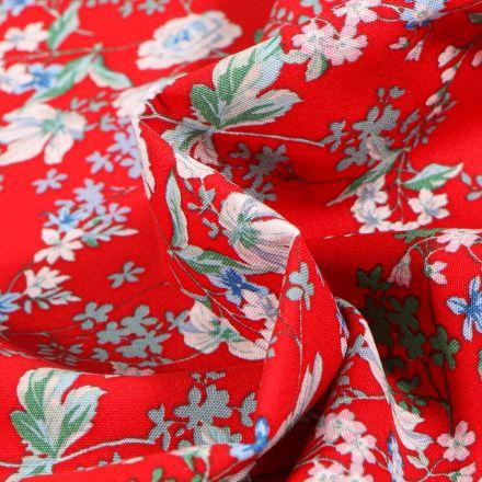 Tissu Viscose Arty Anaïs sur fond Rouge