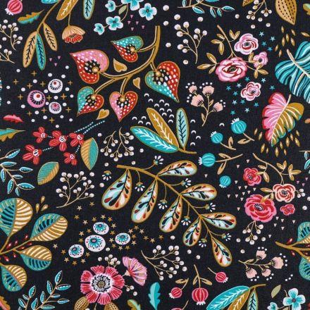 Tissu Coton Enduit Fleurs et feuilles multicolores sur fond Gris ardoise - Par 10 cm