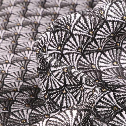Tissu Jacquard Aracade sur fond Argent