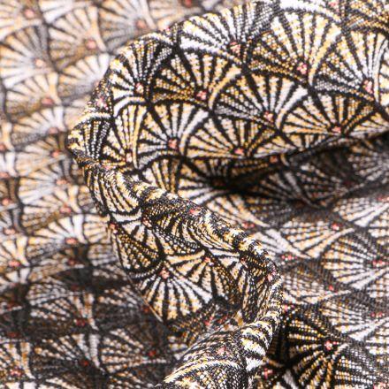 Tissu Jacquard Aracade sur fond Jaune or