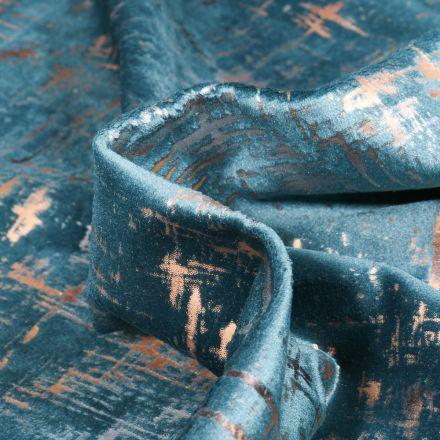 Tissu Velours d'ameublement Astral sur fond Bleu canard