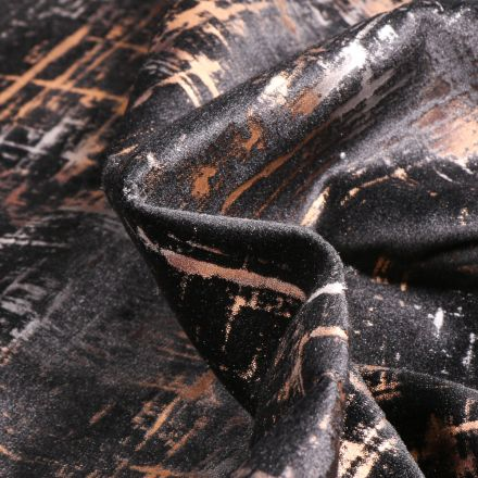 Tissu Velours d'ameublement Astral sur fond Noir