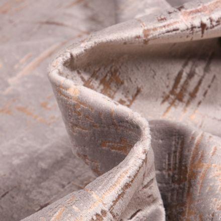 Tissu Velours d'ameublement Astral sur fond Gris perle