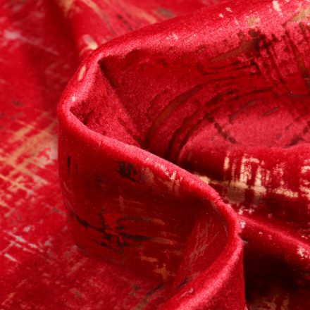 Tissu Velours d'ameublement Astral sur fond Rouge