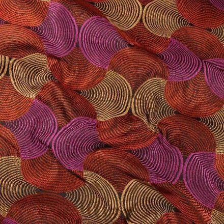 Tissu Toile jacquard Bakary sur fond Orange - Par 10 cm