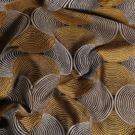 Tissu Toile jacquard Bakary sur fond Gris - Par 10 cm