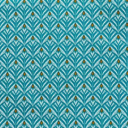 Toile Cirée Baker Motifs blancs et moutarde sur fond Vert bleuté - Par 10 cm