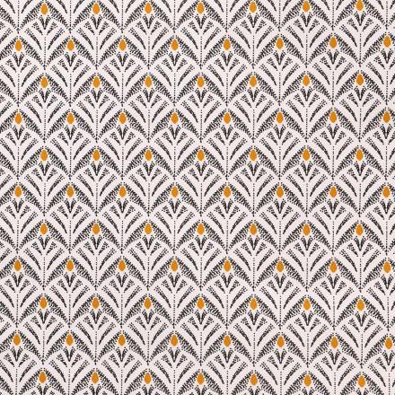 Toile Cirée Baker Motifs noirs et moutarde sur fond Ecru - Par 10 cm