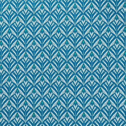 Toile Cirée Baker Motifs blancs et turquoise sur fond Bleu canard - Par 10 cm