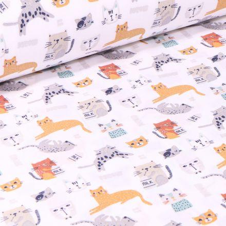 Tissu Coton imprimé Arty Milky Cat sur fond Blanc
