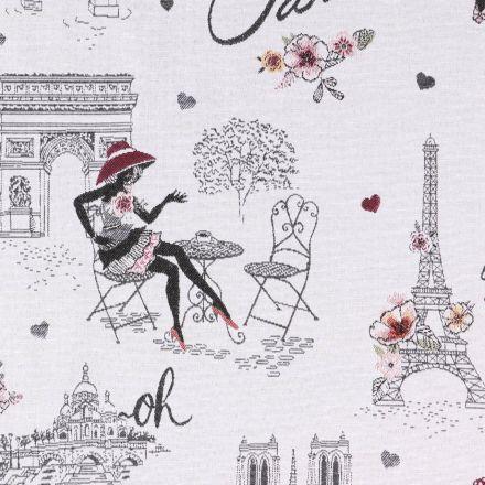 Tissu Jacquard Paris La vie en rose sur fond gris clair - Par 10 cm