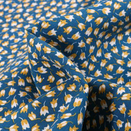 Tissu Viscose Arty Claudia sur fond Bleu