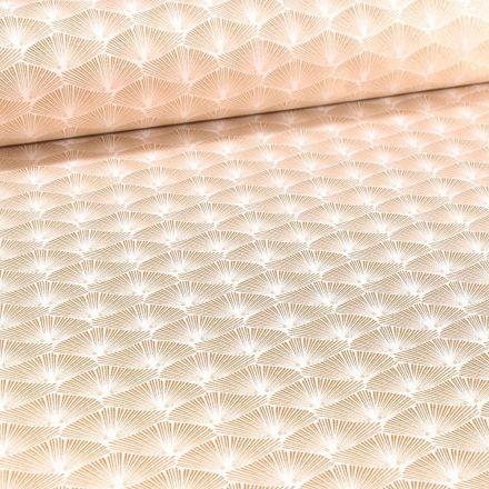 Tissu Jacquard Satiné Éventails lurex cuivre sur fond Blanc - Par 10 cm