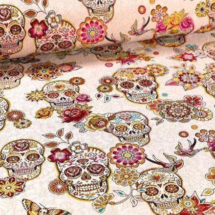 Tissu Toile jacquard El Día de los Muertos sur fond Naturel - Par 10 cm