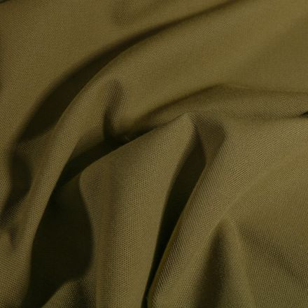 Tissu Toile de coton uni Grande largeur Vert kaki - Par 10 cm