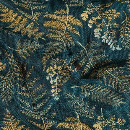 Tissu Toile jacquard Fougère sur fond Vert émeraude - Par 10 cm