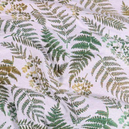 Tissu Toile jacquard Fougère sur fond Blanc cassé - Par 10 cm
