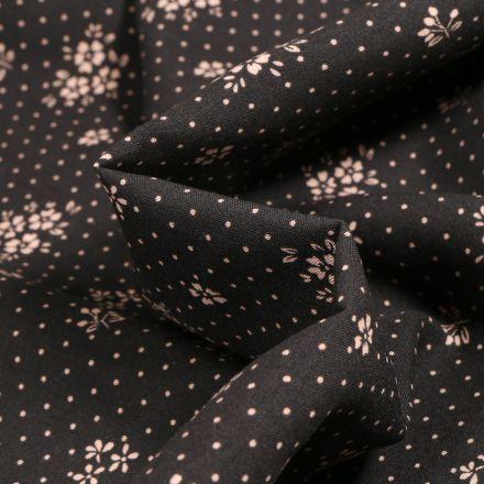 Tissu Viscose Arty Gabrielle sur fond Noir