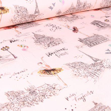 Tissu Coton sergé Arty Danseuse Garnier sur fond Rose nude