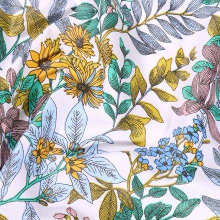 Tissu Coton enduit Glycine sur fond Blanc - Par 10 cm