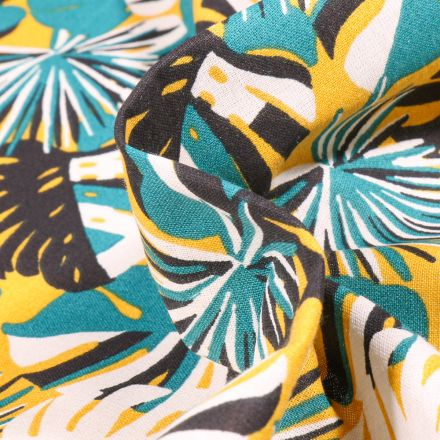 Tissu Coton imprimé Arty Gwada sur fond Jaune