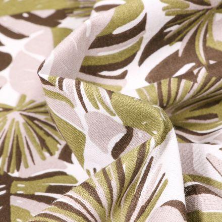 Tissu Coton imprimé Arty Gwada sur fond Vert kaki