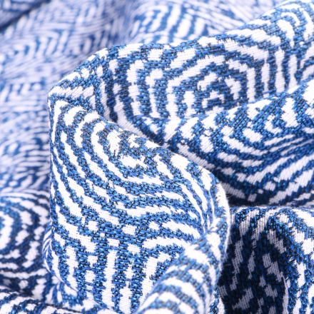 Tissu Jacquard Hexagone sur fond Bleu