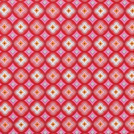 Toile Cirée Ibiza Rosaces rouges, blanches et oranges sur fond Rose - Par 10 cm