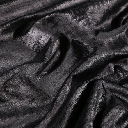 Tissu Velours d'ameublement Illusion Noir - Par 10 cm