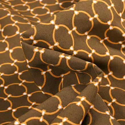 Tissu Viscose Arty Anneaux Or sur fond Bronze