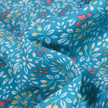 Tissu Viscose Arty Irène sur fond Bleu turquoise