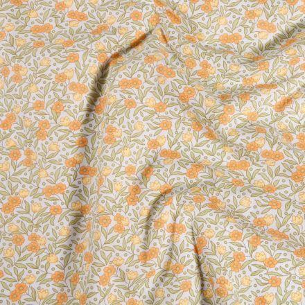 Tissu Coton imprimé Arty Joanne Orange sur fond Blanc - Par 10 cm