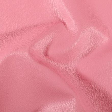 Simili cuir d'ameublement uni Rose bonbon - Par 50 cm