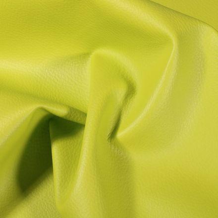 Simili cuir d'ameublement uni Vert pomme - Par 50 cm