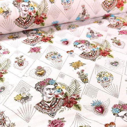 Tissu Toile jacquard Frida Khalo sur fond Blanc - Par 10 cm