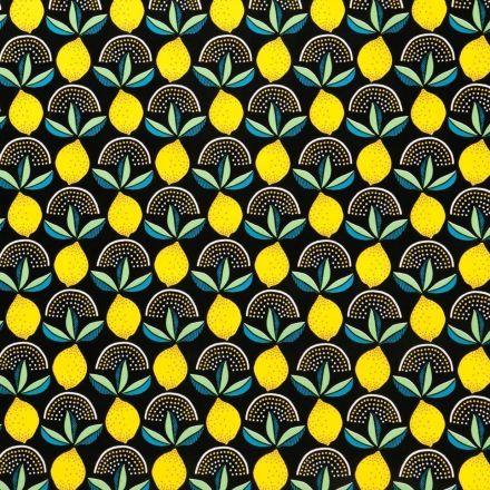 Toile Cirée Citrons jaunes sur fond Noir - Par 10 cm