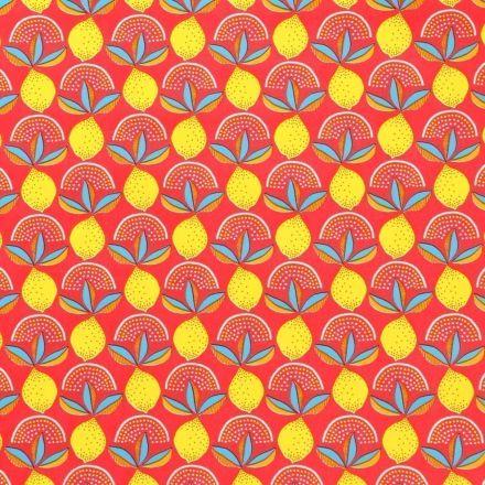 Toile Cirée Citrons jaunes sur fond Pastèque - Par 10 cm