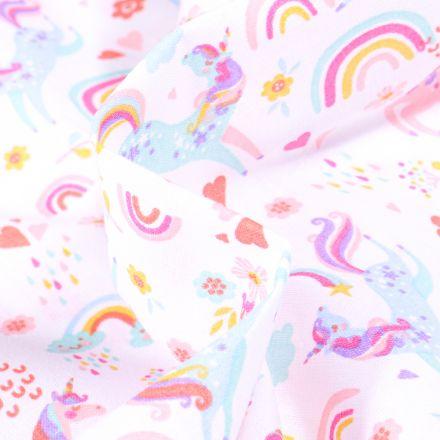 Tissu Coton imprimé Arty I love Licorne sur fond Blanc