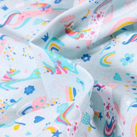 Tissu Coton imprimé Arty I love Licorne sur fond Bleu céladon