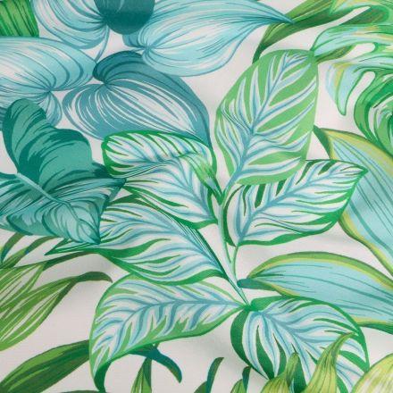 Tissu Toile extérieure imprimé Amazonie sur fond Blanc - Par 10 cm