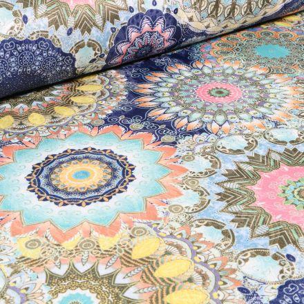 Tissu Jacquard damassé Mandala sur fond Bleu foncé
