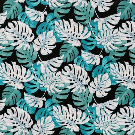 Toile Cirée Mangrove Feuilles tropicales vertes, blanches et bleues sur fond Noir - Par 10 cm