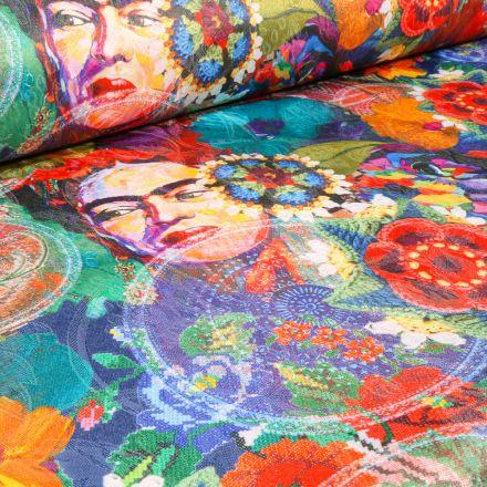 Tissu Jacquard damassé Frida Kahlo sur fond Multicolore