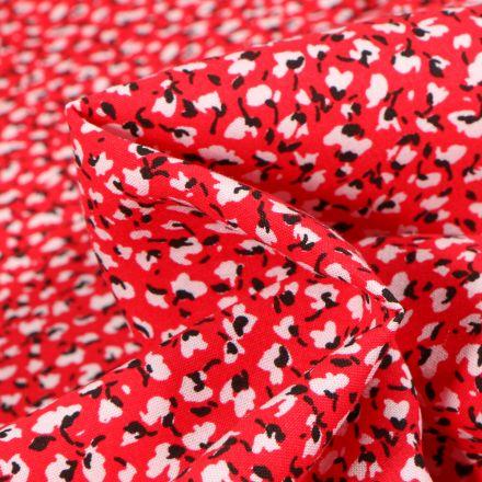 Tissu Viscose Arty Marion sur fond Rouge