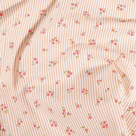 Tissu Coton imprimé Arty Megan Cannelle sur fond Blanc - Par 10 cm