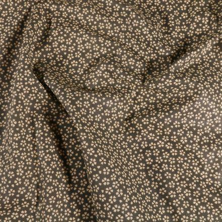 Tissu Coton enduit Myosotis sur fond Marron - Par 10 cm