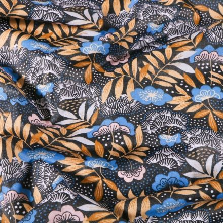 Tissu Coton enduit Fleurs et feuilles moutardes et bleus sur fond Noir - Par 10 cm