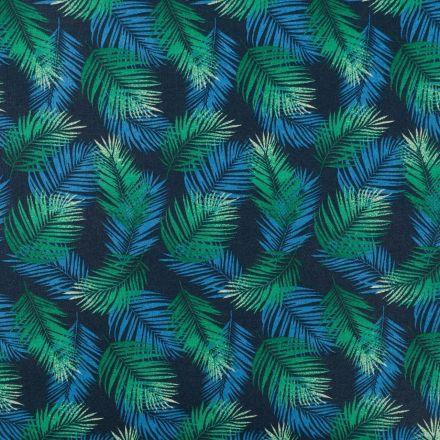 Tissu Coton Enduit Feuilles de Palmiers bleues et vertes sur fond Bleu marine - Par 10 cm