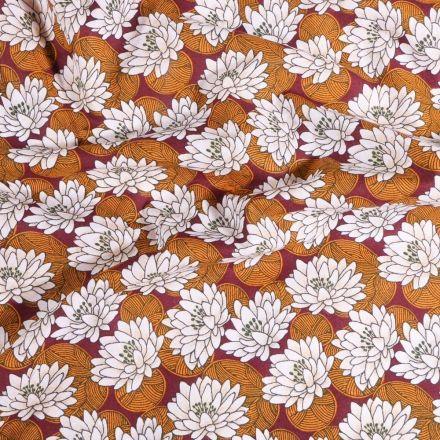 Tissu Coton imprimé Arty Nénuphar ambre sur fond Bordeaux - Par 10 cm